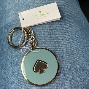 NWT Kate Spade New York logo keychain, aqua/gold